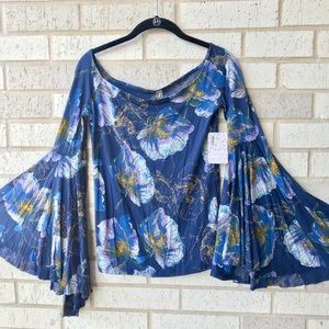 NWT Free People Off Shoulder Bell Sleeve Blouse